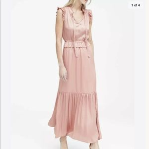 Banana Republic Satin Ruffle Blush Pink Maxi Dress